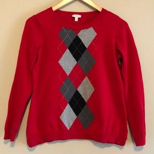 TALBOTS black, gray, and red argyle sweater